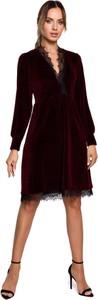 Czerwona sukienka MOE z bawełny z dekoltem w kształcie litery v