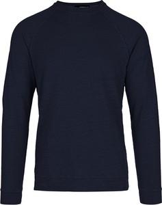 Niebieski sweter Jeordie`s w stylu casual z okrągłym dekoltem z wełny