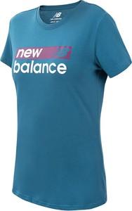 Niebieski t-shirt New Balance w sportowym stylu z okrągłym dekoltem z krótkim rękawem