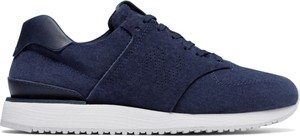 Niebieskie buty sportowe New Balance sznurowane ze skóry