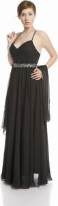 Czarna sukienka Fokus maxi z dekoltem w kształcie litery v rozkloszowana