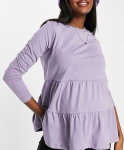 ASOS DESIGN Maternity – Luźna warstwowa sukienka w spranym odcieniu liliowym-Fioletowy