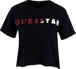 Czarna bluzka Guess Underwear z okrągłym dekoltem z krótkim rękawem w młodzieżowym stylu