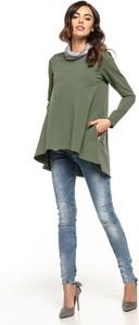 Zielona bluzka Tessita z okrągłym dekoltem z bawełny w stylu casual