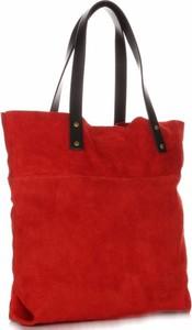 Czerwona torebka VITTORIA GOTTI na ramię z zamszu duża