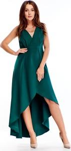 Zielona sukienka Ptakmoda.com z dekoltem w kształcie litery v