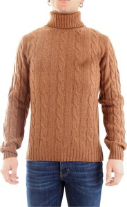 Brązowy sweter Daniele Fiesoli w stylu casual