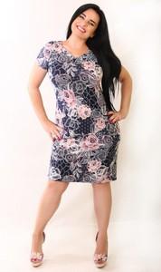 Sukienka Oscar Fashion z krótkim rękawem z dekoltem w kształcie litery v