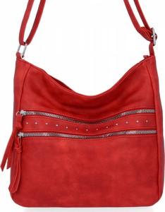 Czerwona torebka Herisson ze skóry ekologicznej w stylu glamour lakierowana