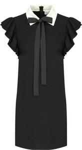 Czarna sukienka Red Valentino mini z krótkim rękawem z żabotem