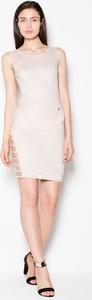 Sukienka sukienki.pl bez rękawów z okrągłym dekoltem z tkaniny