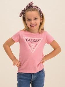 Różowa koszulka dziecięca Guess z krótkim rękawem