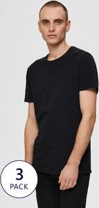 Czarny t-shirt Selected Homme z krótkim rękawem