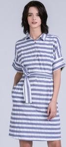 Niebieska sukienka Monnari z krótkim rękawem mini z kołnierzykiem