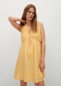 Żółta sukienka Mango w stylu casual trapezowa z dekoltem w kształcie litery v
