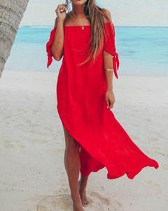 Czerwona sukienka Kendallme hiszpanka oversize w stylu boho