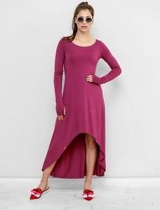 Czerwona sukienka Freeshion w stylu casual z długim rękawem z okrągłym dekoltem