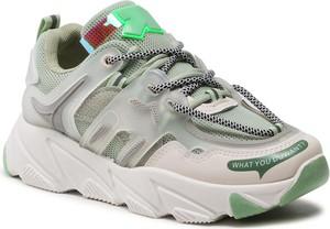 Zielone buty sportowe KEDDO na platformie w sportowym stylu sznurowane