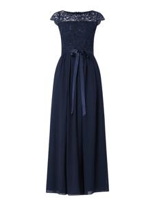 Granatowa sukienka Swing z okrągłym dekoltem maxi z satyny