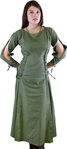 Zielona sukienka Epic Armoury z długim rękawem z okrągłym dekoltem