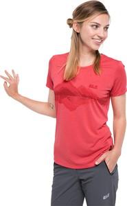 Czerwony t-shirt Jack Wolfskin z krótkim rękawem