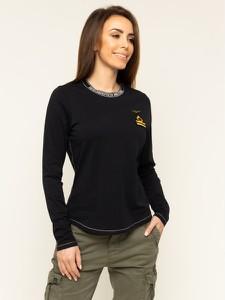 Czarna bluzka Aeronautica Militare z okrągłym dekoltem w militarnym stylu