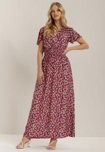 Czerwona sukienka Renee maxi z krótkim rękawem z dekoltem w kształcie litery v
