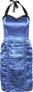 Niebieska sukienka Fokus dopasowana z kołnierzykiem z krótkim rękawem
