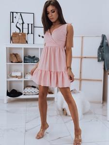 Różowa sukienka Dstreet mini z dekoltem w kształcie litery v bez rękawów