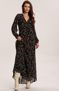 Czarna sukienka Renee w stylu boho z dekoltem w kształcie litery v maxi