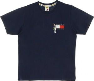 Granatowy t-shirt Tommy Hilfiger z krótkim rękawem z okrągłym dekoltem z bawełny