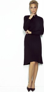 Sukienka Fobya z okrągłym dekoltem midi z długim rękawem