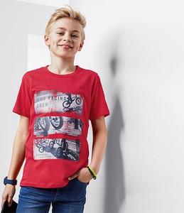 Czerwona koszulka dziecięca Tchibo z dżerseju