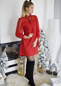 Czerwona sukienka Fason z długim rękawem mini