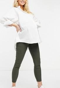 ASOS DESIGN Maternity – Obcisłe spodnie w kolorze khaki z podwyższonym stanem zakrywającym brzuch-Zielony