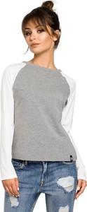 Bluzka Merg z dekoltem w łódkę z długim rękawem w stylu casual