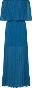 Niebieska sukienka Carolina Cavour hiszpanka z długim rękawem maxi