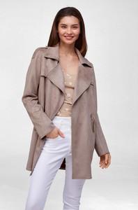 Brązowy płaszcz ORSAY z zamszu
