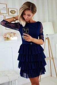 Granatowa sukienka Bicotone z okrągłym dekoltem
