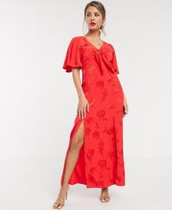 Różowa sukienka Style Cheat z dekoltem w kształcie litery v maxi