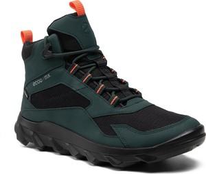 Zielone buty trekkingowe Ecco sznurowane