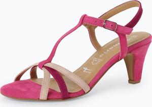 Różowe sandały Tamaris w stylu casual ze skóry z klamrami