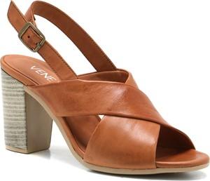 Brązowe sandały Venezia na średnim obcasie na obcasie