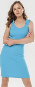 Niebieska sukienka born2be dopasowana bez rękawów