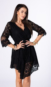 Sukienka Ptakmoda.com z długim rękawem z dekoltem w kształcie litery v