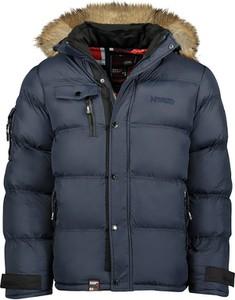 Granatowa kurtka Geographical Norway krótka w stylu casual