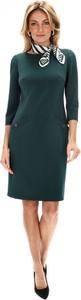 Zielona sukienka L'AF z długim rękawem