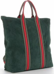 Zielona torebka VITTORIA GOTTI z kolorowym paskiem z zamszu