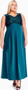 Niebieska sukienka Fokus dla puszystych maxi