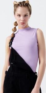 Fioletowa bluzka Cropp bez rękawów